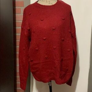 NWT RD STYLE POM POM DETAIL RED SWEATER SIZE L
